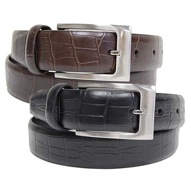 BT Men's Croc Print Leather Belt