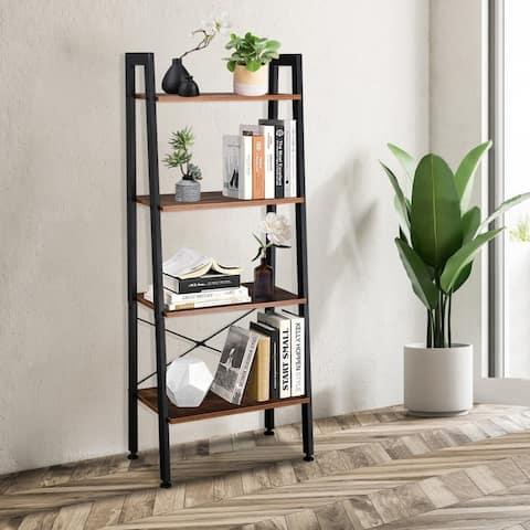 4 Tiers Industrial Ladder Shelf, Vintage Bookshelf, Storage Rack Shelf for Office, Living Room