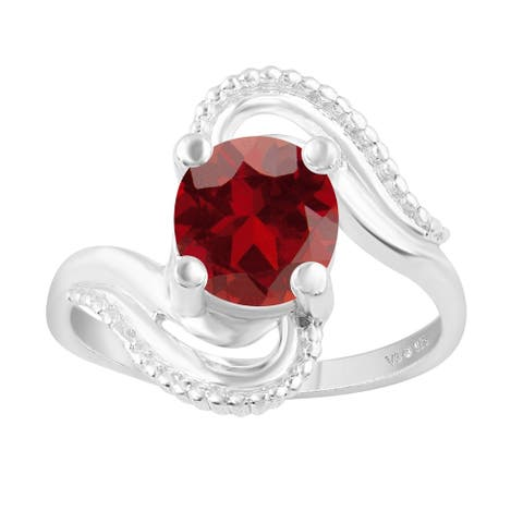 V3 Jewelry 925 Sterling Silver with Oval Shape Natural Garnet Solitaire Ring for Women
