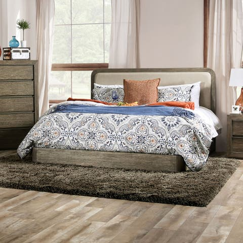 Furniture of America Elor Transitional Walnut Solid Wood Platform Bed