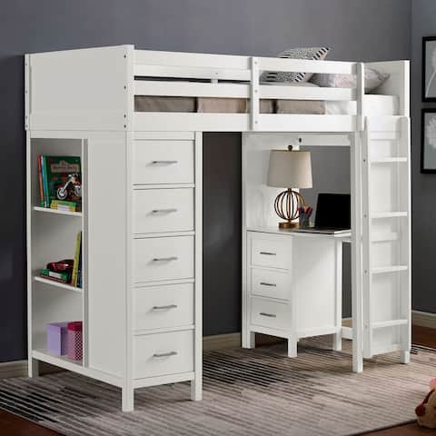 Furniture of America Lyam Transitional White Twin Loft Bed with Drawers