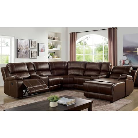 Furniture of America Glem Transitional Brown Solid Wood Sectional