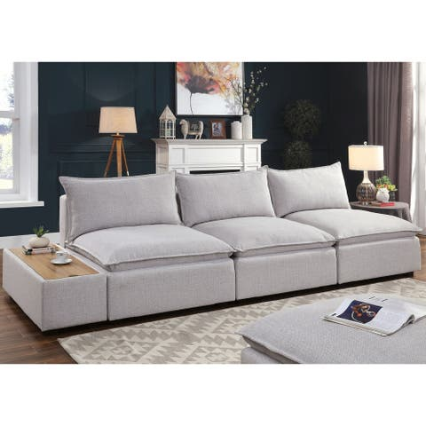Furniture of America Fren Contemporary Grey Solid Wood Padded Sofa
