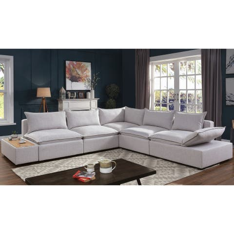 Furniture of America Fren Contemporary Grey Solid Wood Padded Sectional
