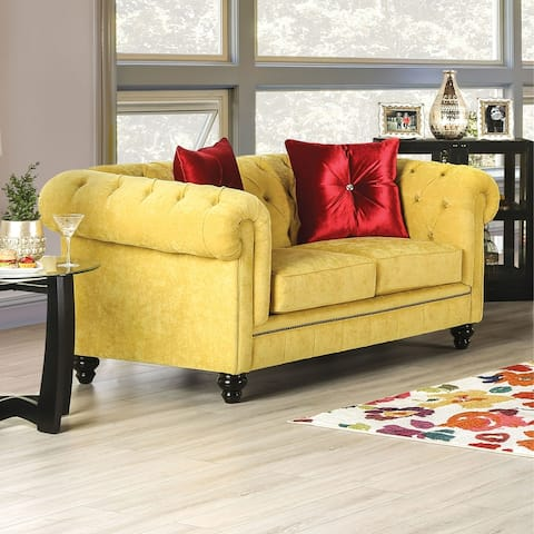 Furniture of America Ryn Transitional Royal Yellow Solid Wood Loveseat