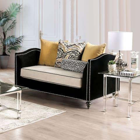 Furniture of America Jak Transitional Black Solid Wood Padded Loveseat