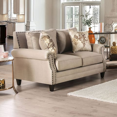 Furniture of America Qyn Transitional Beige Solid Wood Padded Loveseat