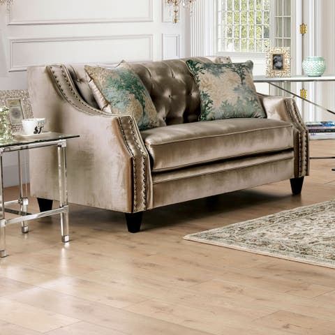 Furniture of America Vynn Transitional Solid Wood Padded Loveseat