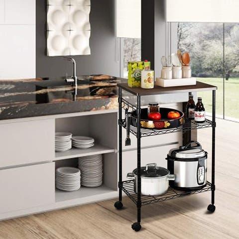 Metal Storage 3-Tier Rolling Kitchen Utility Cart