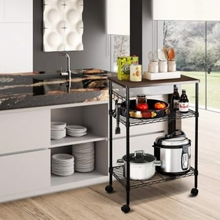 Metal Storage 3-Tier Rolling Kitchen Utility Cart