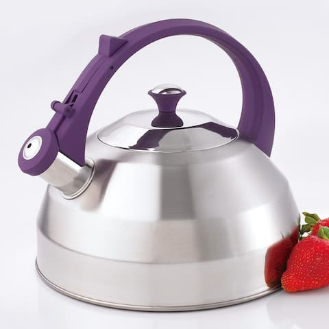 Creative Home Steppes Stainless Steel Whistling Tea Kettle, Purple Handle