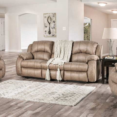 Furniture of America Xade Transitional Tan Power Recliner Padded Sofa