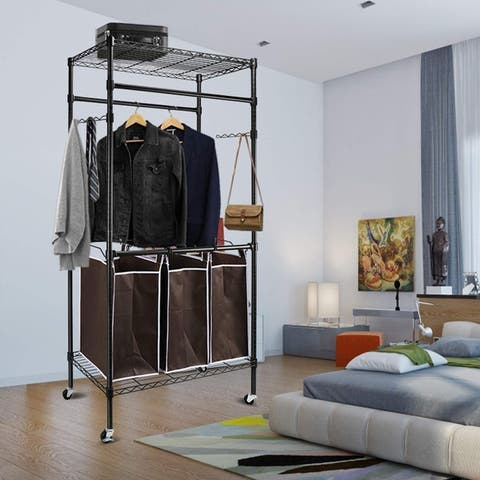Heavy-Duty Clothes Rack Rolling Laundry Sorter Cart