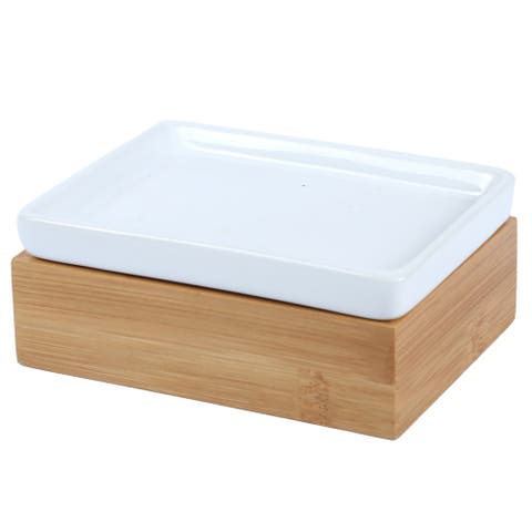 Creative Home Bamboo Soap Dish with Ceramic Insert