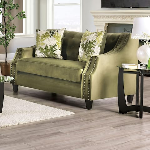 Furniture of America Olie Transitional Green Solid Wood Padded Loveseat