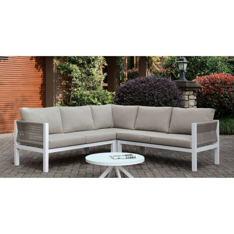 Furniture of America Crys Contemporary Grey Metal Sectional
