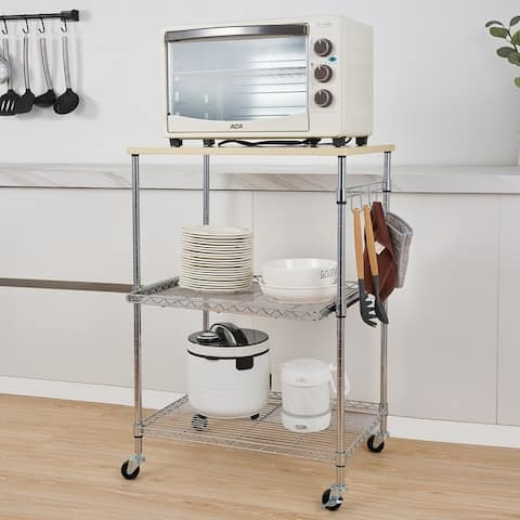 Kitchen and Microwave Rolling Wire Cart Storage Rack with Adjustable Shelves