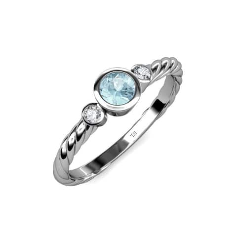 TriJewels Aquamarine Diamond 5/8 ctw Womens Engagement Ring 14KW Gold