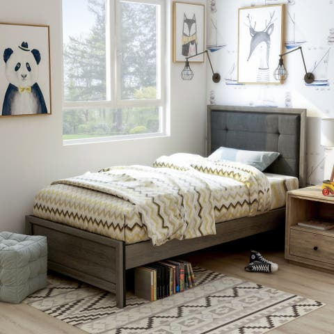 Furniture of America Aury Transitional Grey Panel Tufted Bed