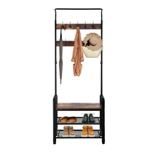 Industrial Coat Rack Shoe Bench Hall Tree Entryway Storage Shelf Wood