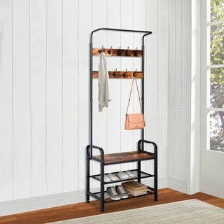 Link to 3 in 1 Vintage Coat Rack Shoe Bench, Hall Tree Entryway Storage Shelf Similar Items in Living Room Furniture