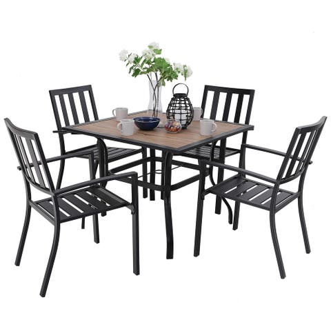 PHI VILLA Patio Wood-Like Square Table and Chairs Dining Set