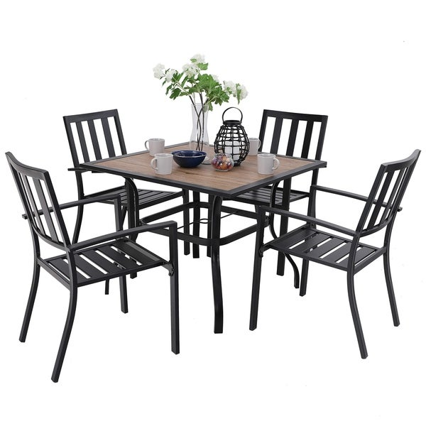 PHI VILLA Patio Wood-Like Square Table and Chairs Dining Set. Opens flyout.