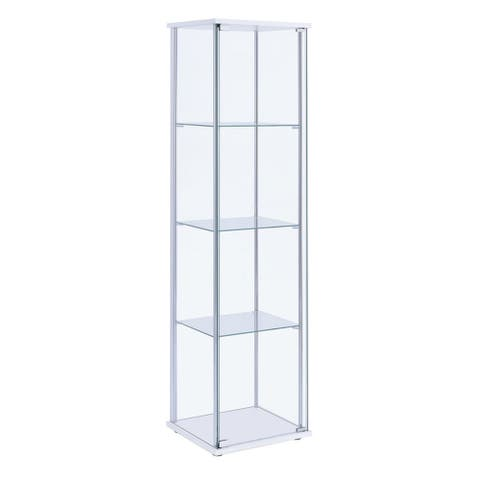 Glass and Metal Curio Cabinet with 4 Shelves, Clear and White