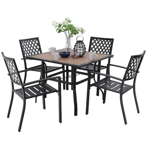 PHI VILLA Metal Outdoor Patio Dining Chairs and Wood-Like Square Table Furniture
