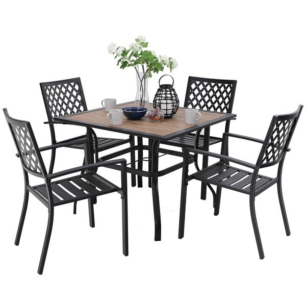 PHI VILLA Metal Outdoor Patio Dining Chairs and Wood-Like Square Table Furniture. Opens flyout.
