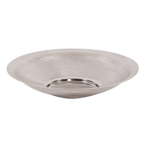 Textured Silver Metal Platter, Large