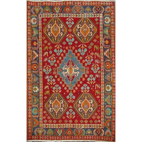 "Vintage Vegetable Dye Kashkoli Nafar Persian Area Rug Handmade Carpet - 3'5"" x 4'9"""