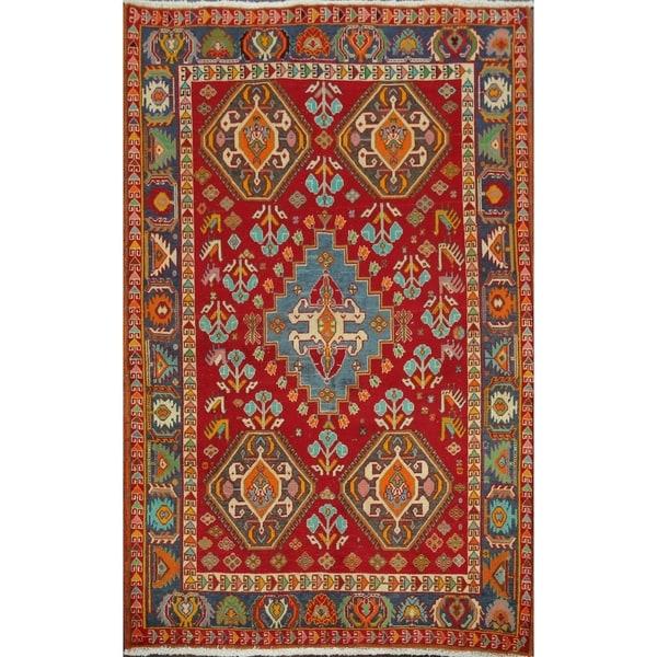 "Vintage Vegetable Dye Kashkoli Nafar Persian Area Rug Handmade Carpet - 3'5"" x 4'9"". Opens flyout."