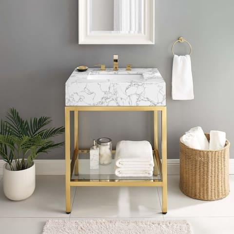 """Kingsley 26"""" Gold Stainless Steel Bathroom Vanity"""