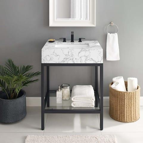 """Kingsley 26"""" Black Stainless Steel Bathroom Vanity"""