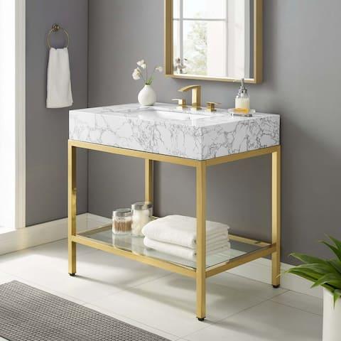 """Kingsley 36"""" Gold Stainless Steel Bathroom Vanity"""