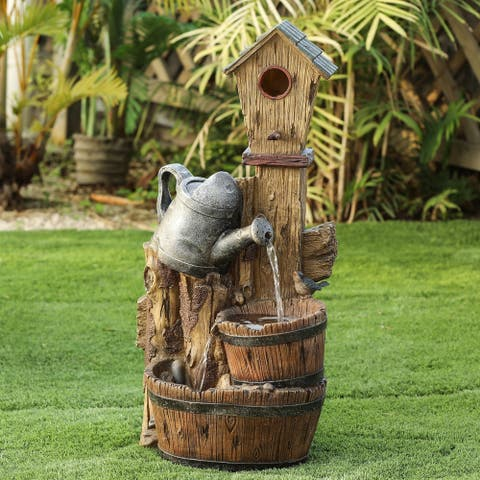 Polyresin Bird House Post and Water Can Patio Fountain