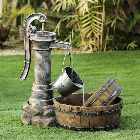 Resin Tipped Pail and Whiskey Barrel Patio Fountain