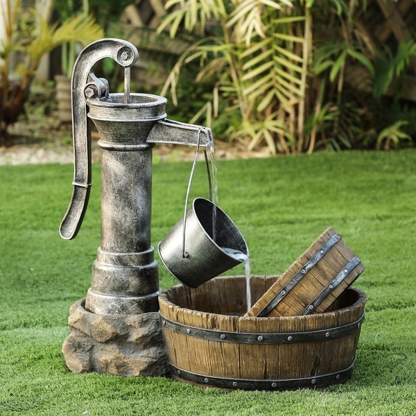 Resin Tipped Pail and Whiskey Barrel Patio Fountain. Opens flyout.
