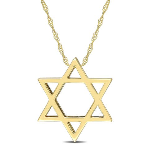 Miadora 14k Yellow Gold Star of David Necklace