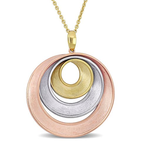 Miadora 18k 3-tone Rose, White and Yellow Gold Concentric Circle Necklace