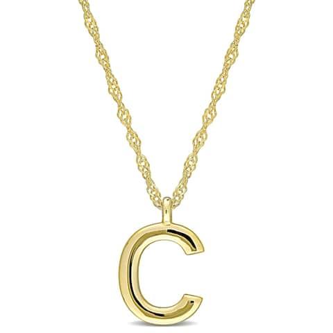 Miadora 14k Yellow Gold C Initial Necklace