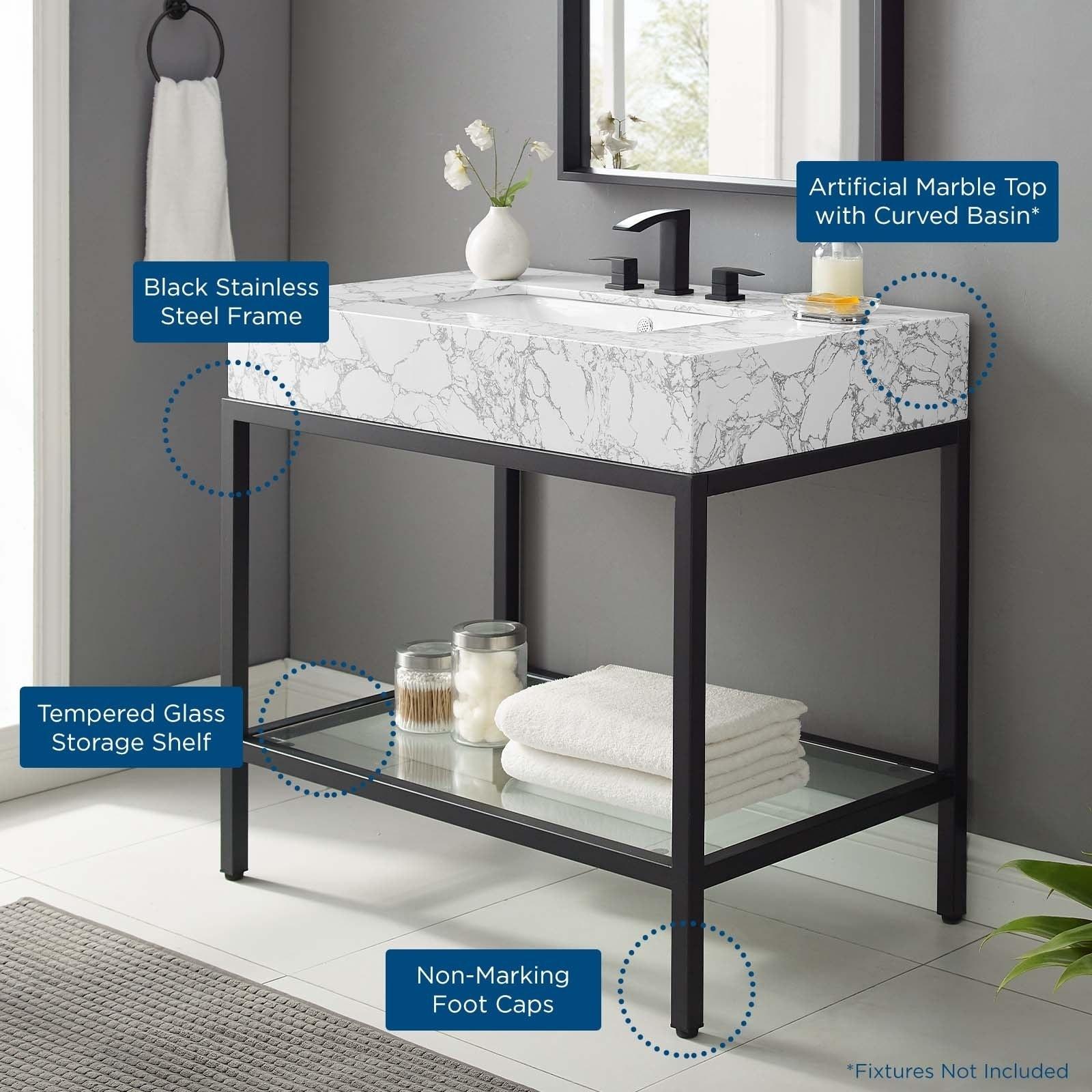 Kingsley 36 Black Stainless Steel Bathroom Vanity