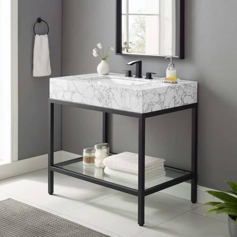 """Kingsley 36"""" Black Stainless Steel Bathroom Vanity"""