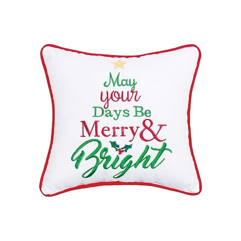 Merry & Bright Embroidered Decororative Accent Throw Pillow