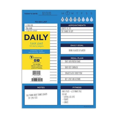 Bright Blue Daily Planning Task Pad - Daily Schedule Deskpad
