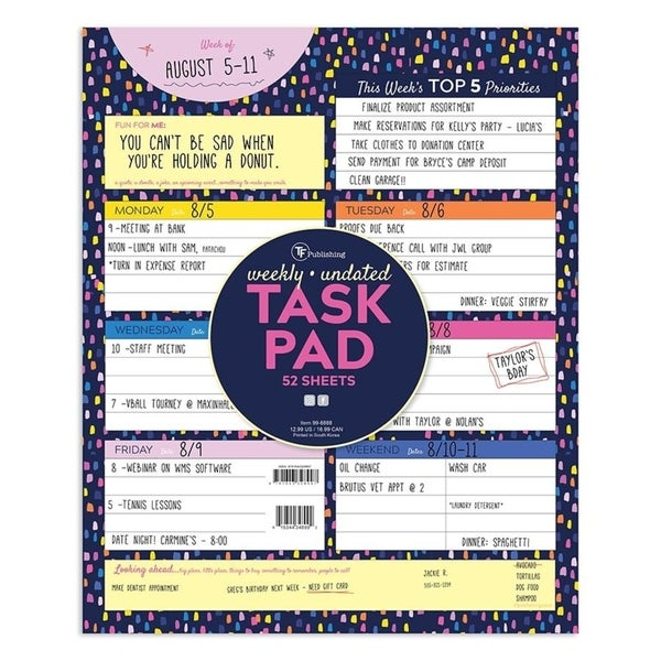 Undated Large Weekly Task Pad - ToDos and Appointment Schedule Deskpad. Opens flyout.