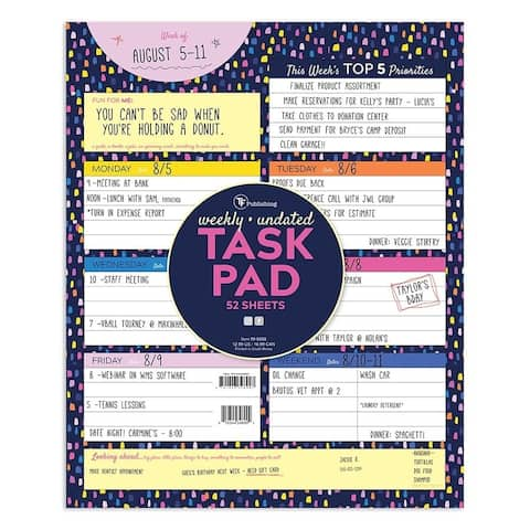 Undated Large Weekly Task Pad - ToDos and Appointment Schedule Deskpad