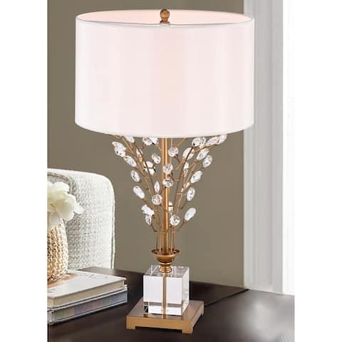 Isagani Matte Gold 1-Light Laminated Glass Shade Table Lamp