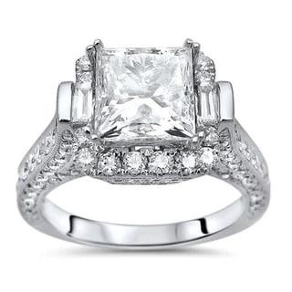 Noori 18k White Gold 2 7/8ct TDW Princess-cut Enhanced Diamond Engagement Ring
